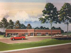 Hand Rendering of A/E Graphics New Building in 1987